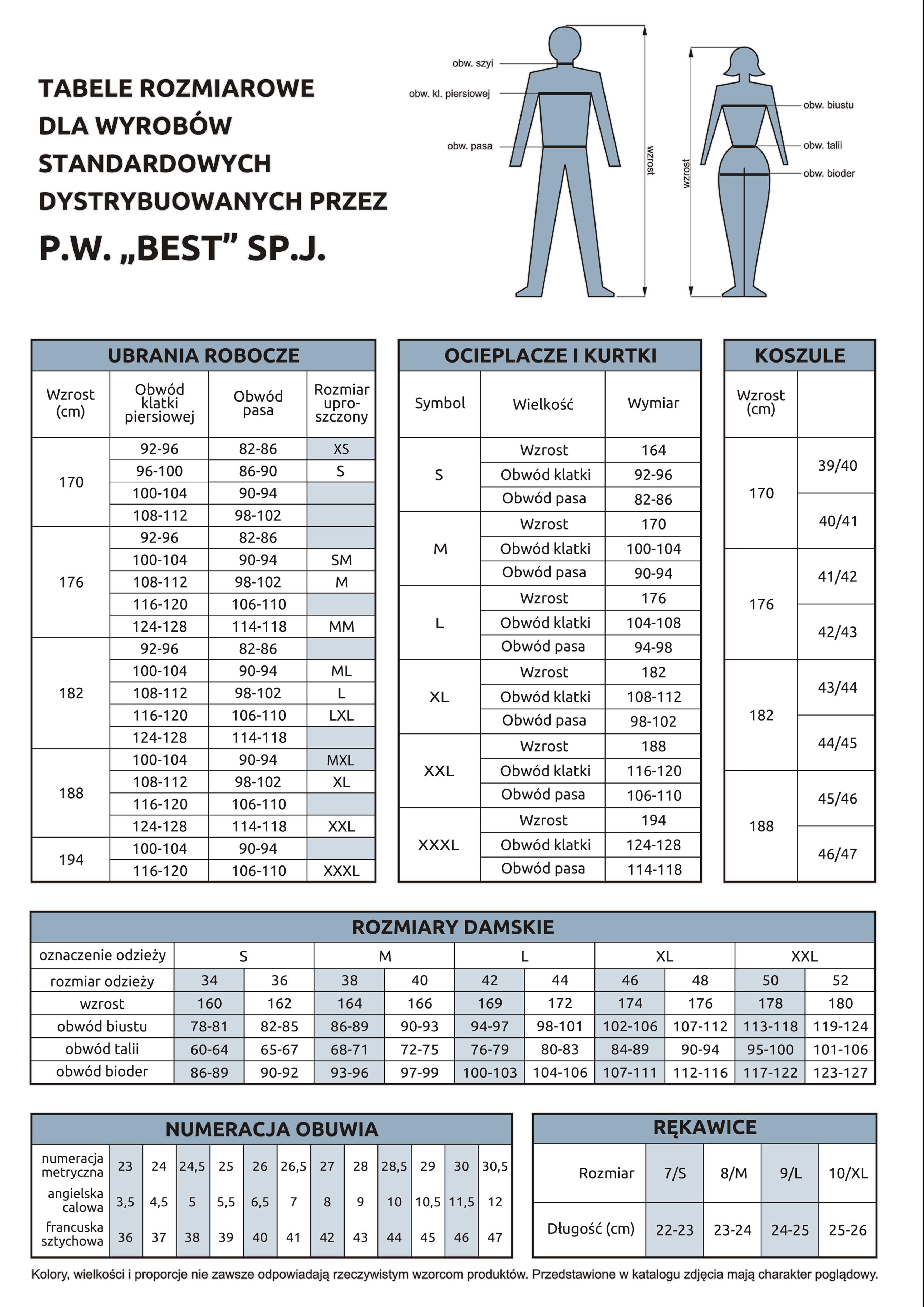 """Tabela rozmiarowa dla dla wyrobów standardowych P.W. """"BEST"""" SP.J. 1"""